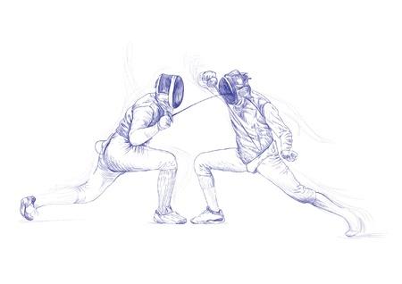 esgrima: esgrima - imagen mano dibujo en el vector