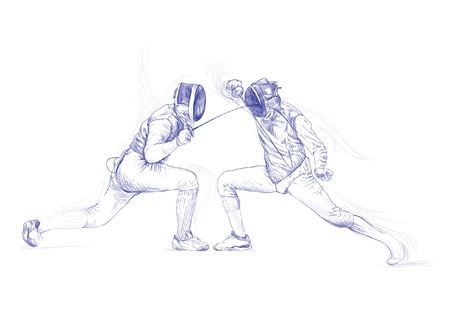 fencing: fencing - hand drawing picture into vector