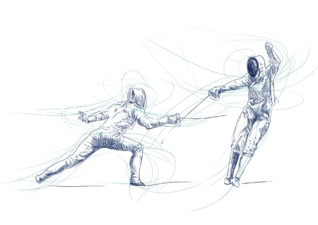 fencing - hand drawing picture into vector Vector