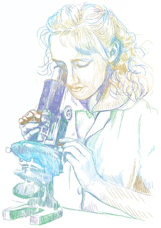 hospice: girl with a microscope - hand drawing picture, colors, into vector Illustration