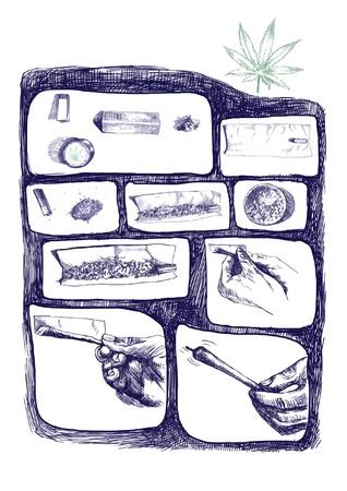 dependence: as packaged marijuana joint, storyboard 1 Illustration