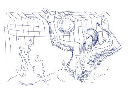 waterpolo: Waterpolo - boceto azul en el vector