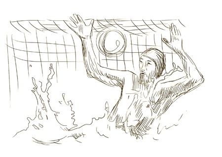 water polo - brown sketch into vector Stock Vector - 14686634