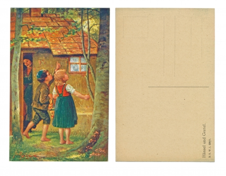 LEIPZIG, GERMANY, CIRCA 1910 - Published by B  K  W  1 398   5 , Hansel und Gretel - Hansel and Gretel