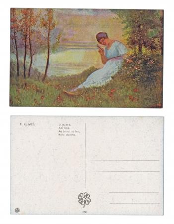 v lake: PRAGUE, CZECH REPUBLIC, 1918 - F  Klimes - Published by V  K  K  V  - Serial No  1240 - Sitting by the lake - Circa 1918