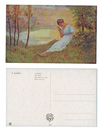 PRAGUE, CZECH REPUBLIC, 1918 - F  Klimes - Published by V  K  K  V  - Serial No  1240 - Sitting by the lake - Circa 1918