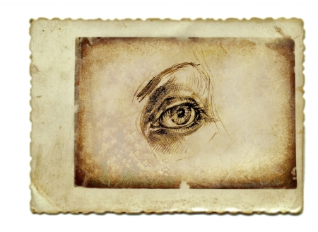 hand drawing and vintage processing - eye photo