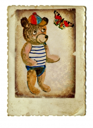 archaically: hand painting and vintage processing - little bear