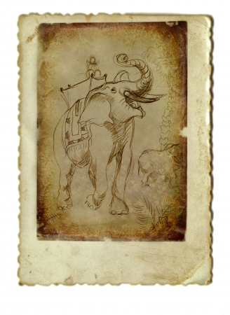 archaically: hand drawing and vintage processing - elephant