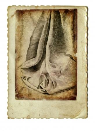 cenefas: dibujo a mano y el procesamiento de la vendimia - cortinas Foto de archivo