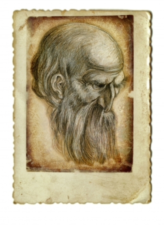archaically: hand drawing and vintage processing - bearded old man