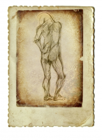 archaically: hand drawing and vintage processing - figure from behind