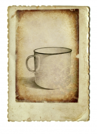 archaically: hand drawing and vintage processing - cup