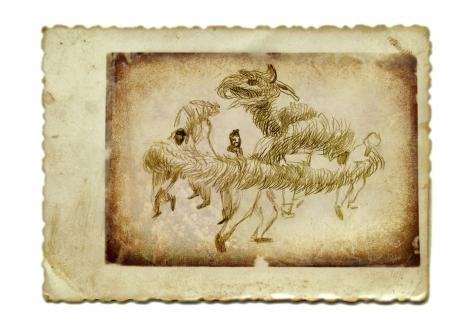 academic touch: hand drawing and vintage processing - dragon Stock Photo