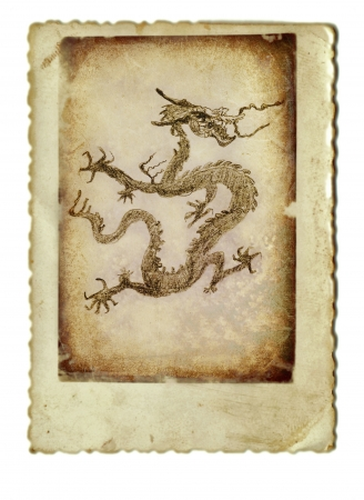 archaically: hand drawing and vintage processing - dragon Stock Photo