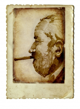 archaically: hand drawing and vintage processing - man with cigar