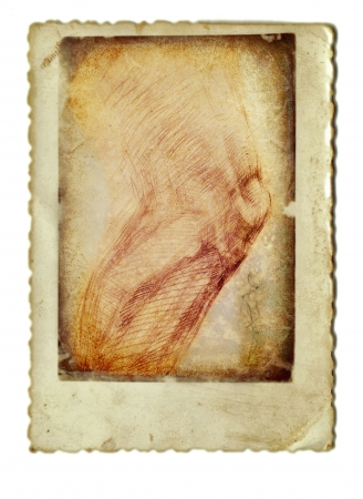 archaically: hand drawing and vintage processing - knee