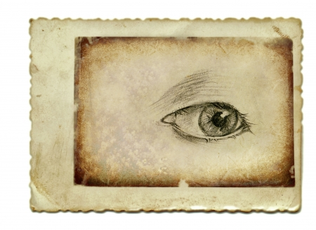 archaically: hand drawing and vintage processing - eye