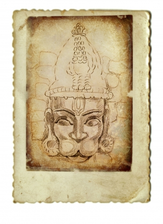 archaically: hand drawing and vintage processing - indian god