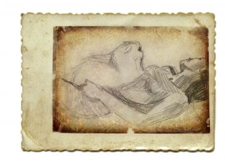 hand drawing and vintage processing - lying with cat Stock Photo