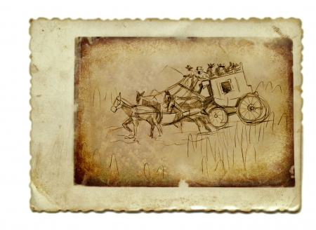 draft horse: hand drawing and vintage processing - wild west