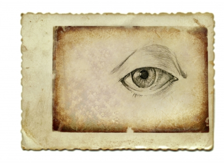 academic touch: hand drawing and vintage processing - eye