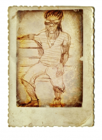 archaically: hand drawing and vintage processing - rasta man