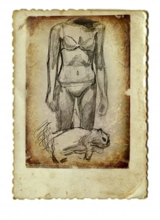 archaically: hand drawing and vintage processing - girl with cat