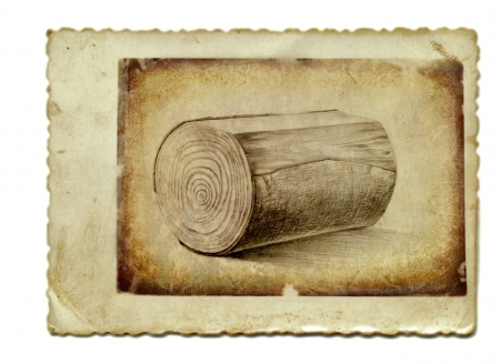 archaically: hand drawing and vintage processing - log of wood