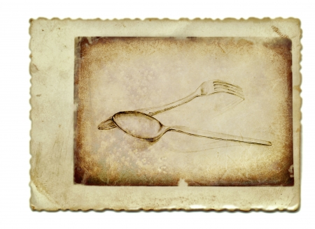archaically: hand drawing and vintage processing - spoon and fork