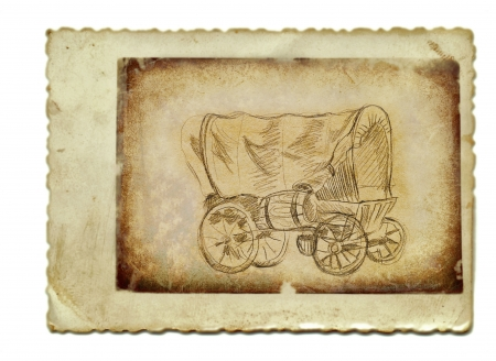 academic touch: hand drawing and vintage processing - carriage Stock Photo