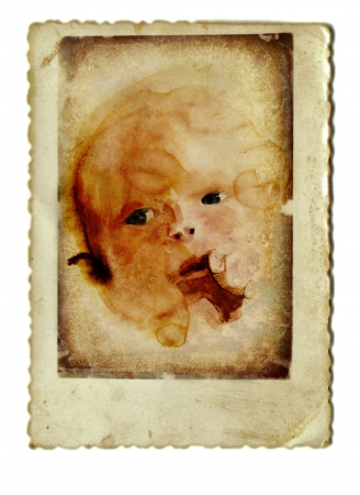 archaically: hand drawing and vintage processing - baby