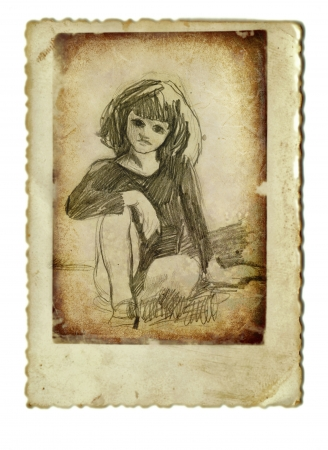 archaically: hand drawing and vintage processing - girl
