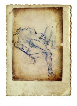 archaically: hand drawing and vintage processing - figure