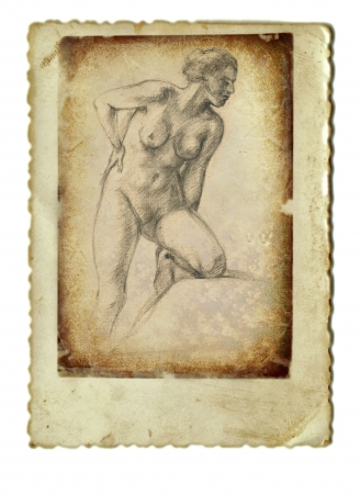 archaically: hand drawing and vintage processing - woman Stock Photo