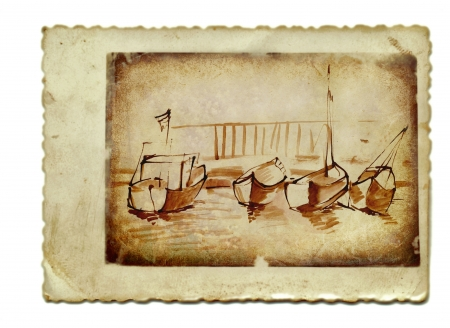 academic touch: hand drawing and vintage processing - boats