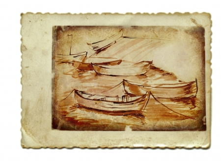 archaically: hand drawing and vintage processing - boats