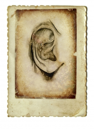 archaically: hand drawing and vintage processing - the ear Stock Photo