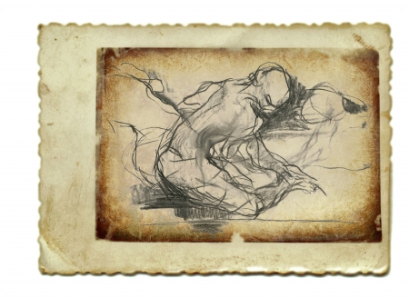 archaically: hand drawing and vintage processing - human figure