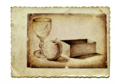 archaically: hand drawing and vintage processing - still life Stock Photo