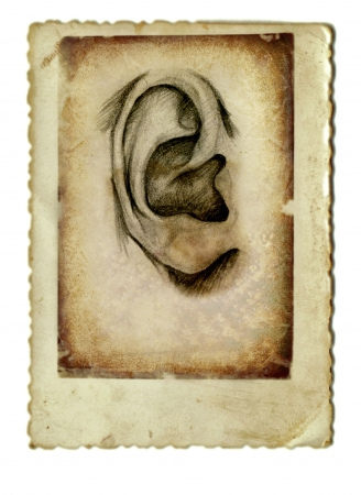 archaically: hand drawing and vintage processing - ear