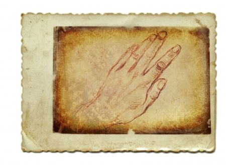 archaically: hand drawing, vintage processing - hand, palm Stock Photo