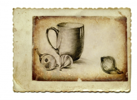 archaically: hand drawing, vintage processing - still life Stock Photo