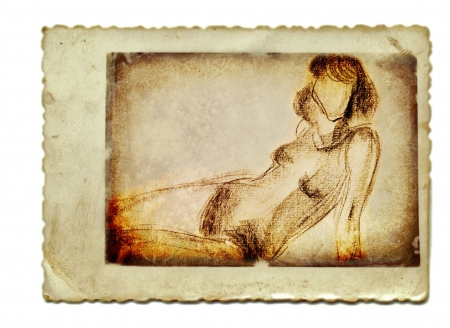 archaically: hand drawing, vintage processing - woman