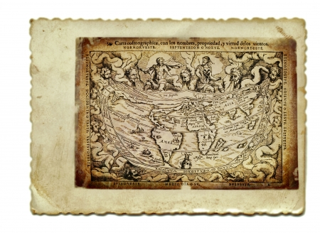 archaically: hand drawing, vintage processing - old map