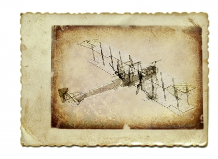 vintage collage with 3D render, airplane photo