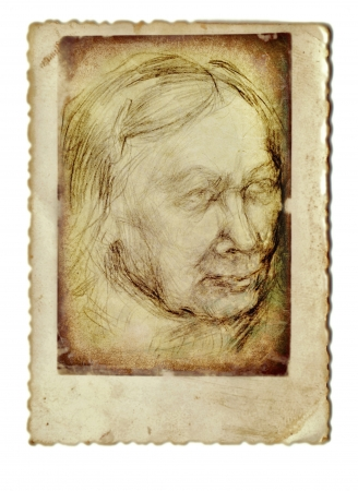 archaically: hand drawing, woman  senior