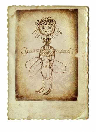 archaically: hand drawing, elf  she