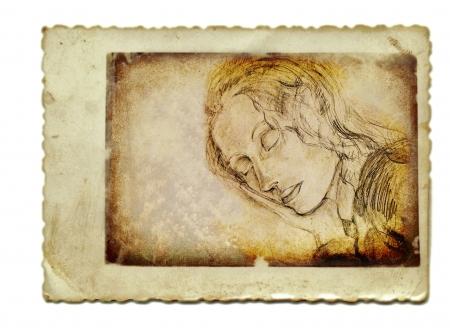archaically: hand drawing, sleeping girl