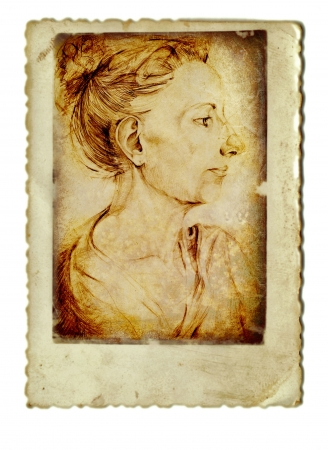 archaically: hand drawing, woman